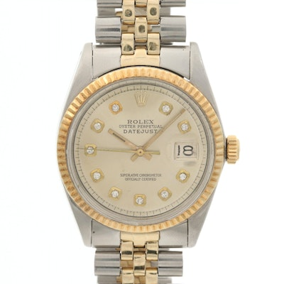 Rolex Datejust 14K Gold and Stainless Steel Wristwatch With Diamond Pie Pan Dial