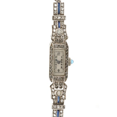 Vintage Swiss Sterling Silver Wristwatch With Diamond and Sapphires
