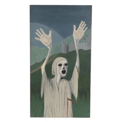 D. E. Lamb Mid 20th Century Ghost Oil Painting