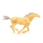 Soret 18K Yellow Gold Diamond Horse Brooch with Palladium Accents