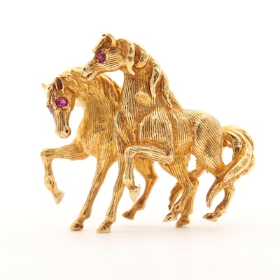 18K Yellow Gold Ruby Horse Brooch