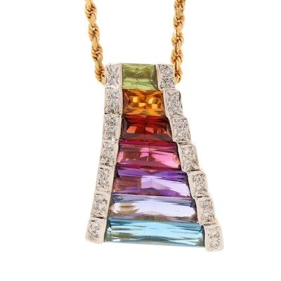 Bellarri 18K Yellow Gold Diamond, Iolite and Gemstone Enhancer Pendant Necklace