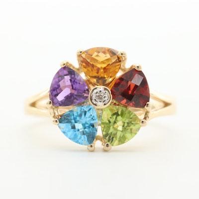 14K Yellow Gold Diamond and Multi-Gemstone Ring