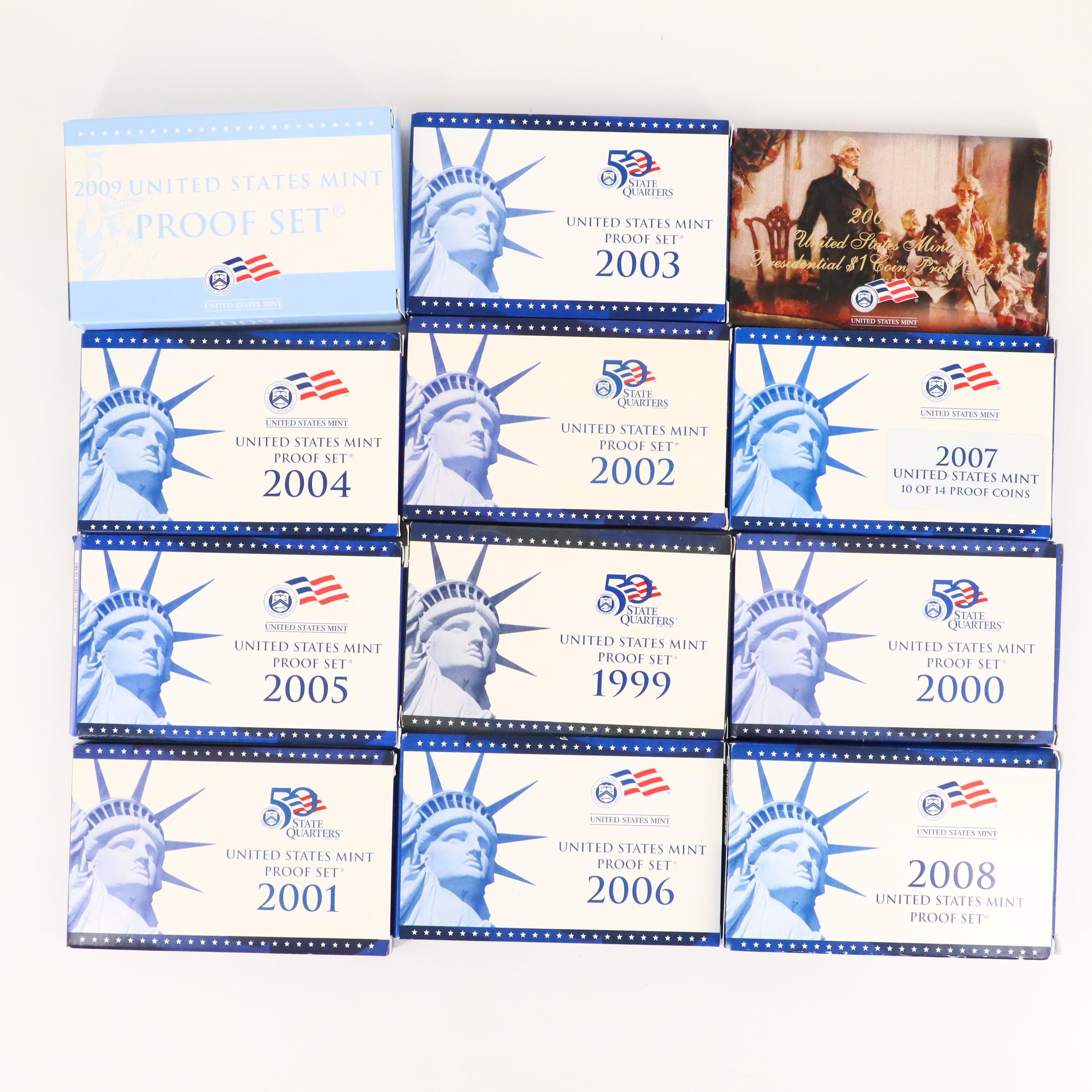 2000 2001 2002 2003 2004 2005 2006 2007 2008 2009 S Roosevelt Mint Proof Set