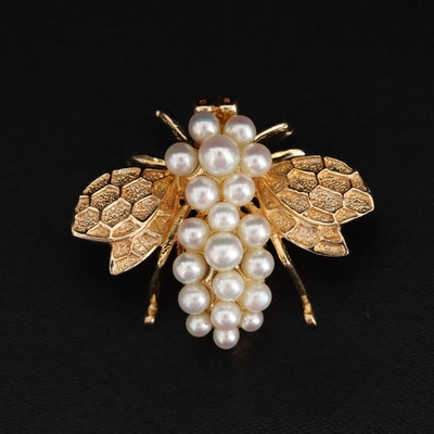 14K Yellow Gold Cultured Pearl Fly Brooch