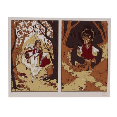 "Marlowe Wesley Diptych Serigraph ""Into the Woods"""