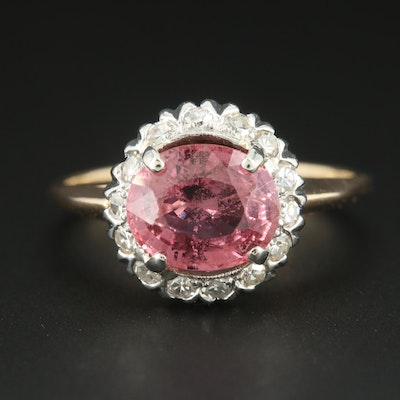 14K Yellow Gold Pink Sapphire and Diamond Ring with Platinum Head