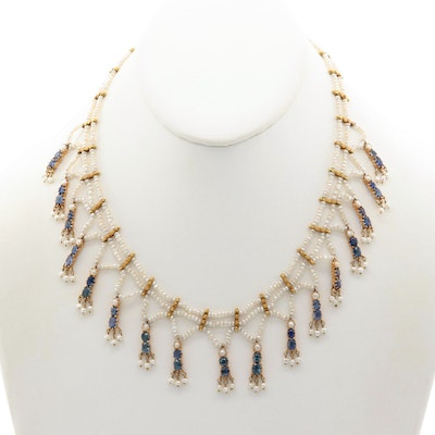 Circa 1910 14K Yellow Gold Sapphire and Pearl Fringe Necklace