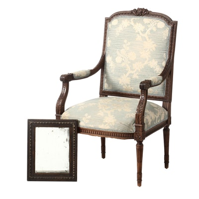 Louis XVI Style Walnut Fauteuil Plus Oak and Parcel-Gilt Mirror