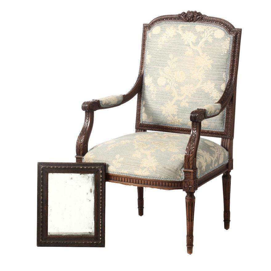 Louis XVI Style Walnut Fauteuil Plus Oak and Parcel-Gilt Mirror