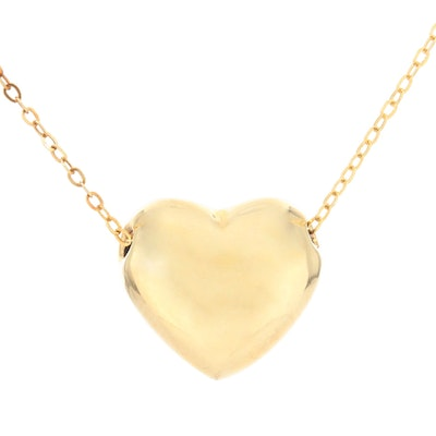 14K Yellow Gold Puffy Heart Pendant Necklace