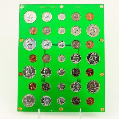 Seven U.S. Mint Proof Set Including 1956, 1959, and 1960