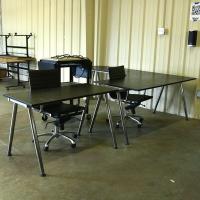 "IKEA ""Galant"" Corner Office Desk and Desk Chairs"