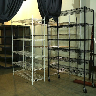 Four Industrial Style Steel Storage Shelves