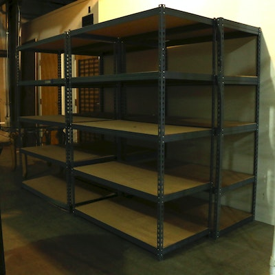 Four Industrial Style Adjustable Metal Storage Shelves
