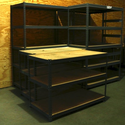 Five Industrial Style Adjustable Metal Storage Shelves