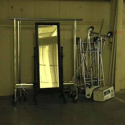 Clothing Steamer, Full-Length Mirror, Rolling Racks and Uline Garment Bags
