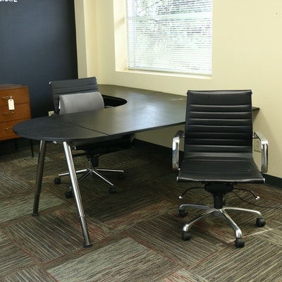 IKEA Galant Office Desk, Chairs and File Cabinet, Contemporary