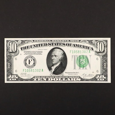 "Series of 1928 B $10 Federal Reserve ""Woods/Mellon"" Currency Note"