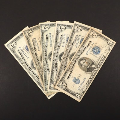Six $5 Silver Certificates Including a 1934 A and 1953 A