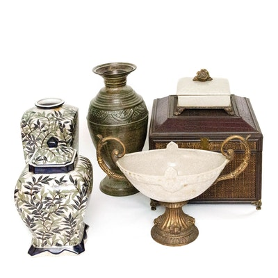 Chinese and Continental Decorative Jars, Compote, and Boxes, Early-Mid 20th Ca.