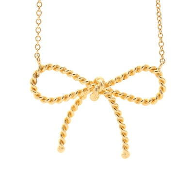 Tiffany & Co. 18K Yellow Gold Twisted Bow Necklace