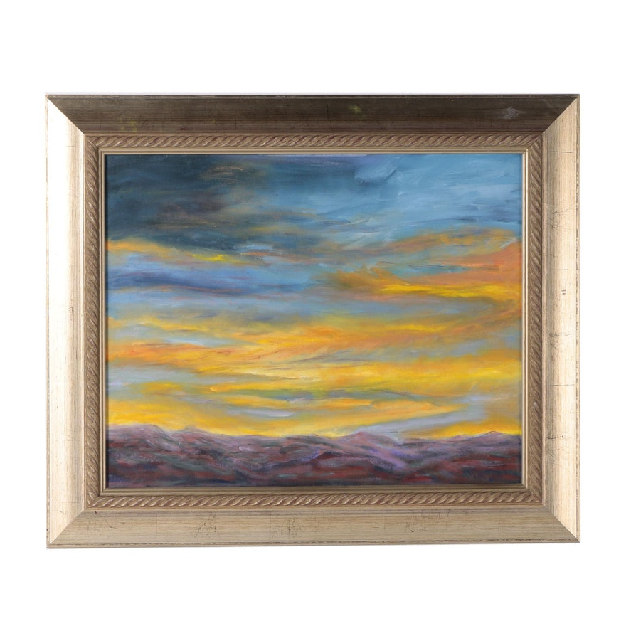 "Sandra Small Oil Painting ""Sunset over the Jemez I"""