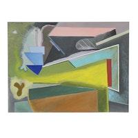 Doris Vlasek-Hails Geometric Abstract Acrylic Painting