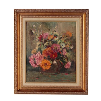 Louis Charles Vogt Floral Still Life Oil Painting