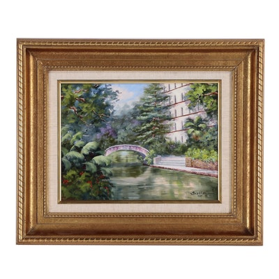 Trenton Oil Painting Architectural Waterscape