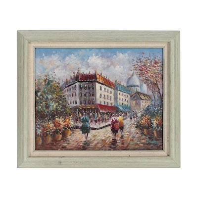 Parisian Street Scene Oil Painting