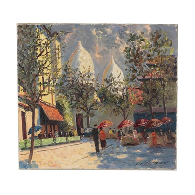 Finn Wennerwald Parisian Street Scene Oil Painting