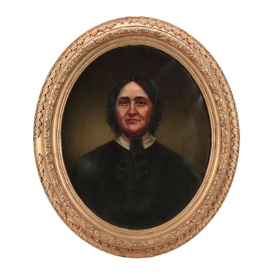 19th Century American School Portrait Oil Painting