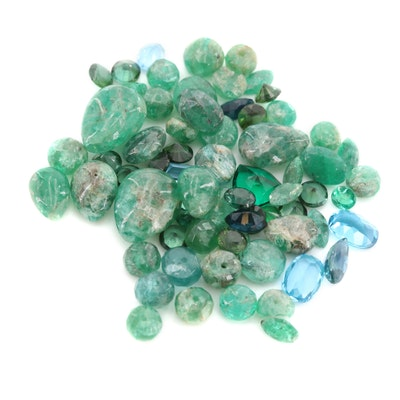 Loose 28.18 CTW Gemstone Assortment Including Emerald and Blue Sapphire