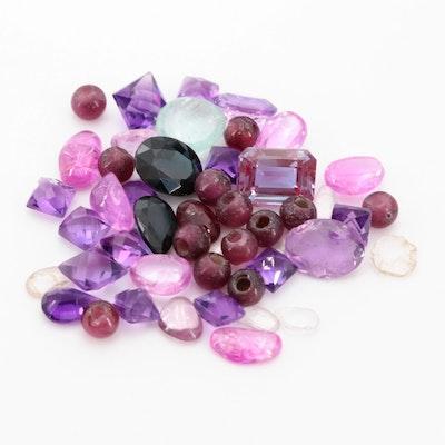 Loose 26.70 CTW Gemstone Assortment Including Amethyst and Aquamarine
