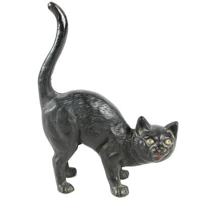 Hubley Hunchback Halloween Cat Cast Iron Doorstop, Circa 1940s