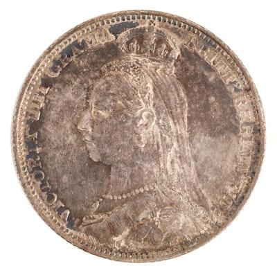 1889 Great Britain Silver Shilling of Queen Victoria