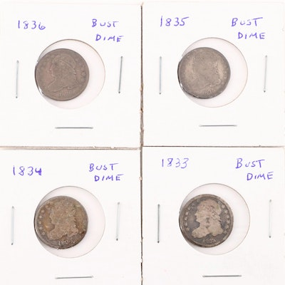 Four Capped Bust Silver Dimes, 1833 to 1836