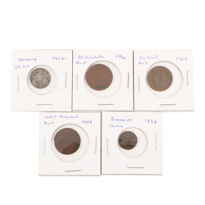 Five Antique Northern European Coins, 1722 to 1902