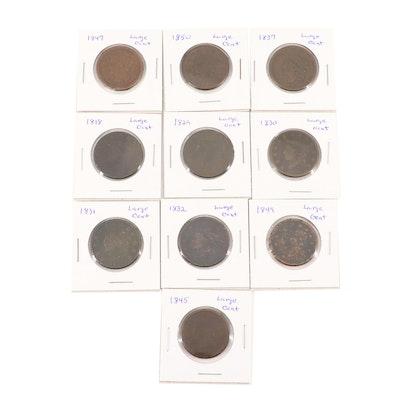 Ten Large Cent Coins