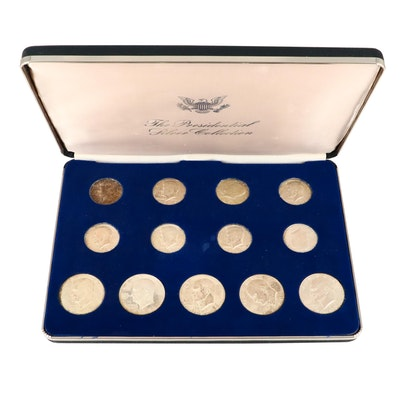 Presidential Silver Collection Featuring Thirteen Silver and Silver Clad Coins