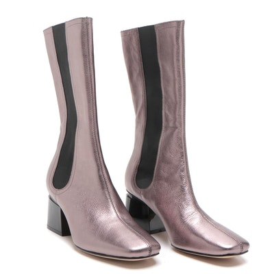 Sigerson Morrison Pewter Metallic Pebbled Leather Eartha Boots