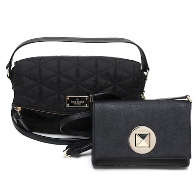 Kate Spade New York Black Quilted Nylon and Crosshatch Leather Crossbody Bags