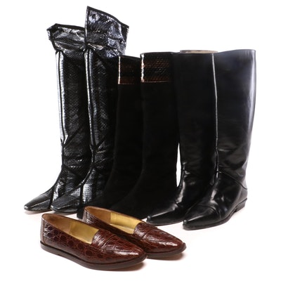 Joan & David Black Leather Boots and Claudio Merazzi Snakeskin Boots and Loafers