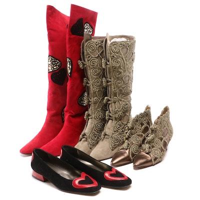 Claudio Merazzi Soutache Embellished Boots, Heart Boots and Margaret J. Heels