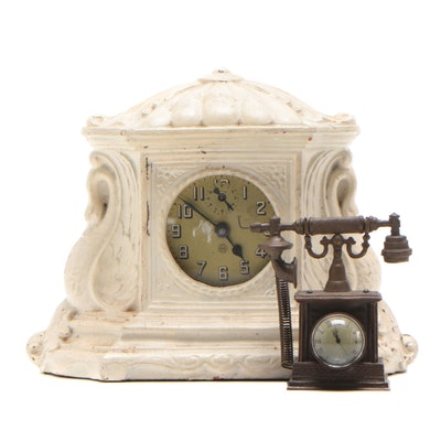 Lux Swan Motif Wooden Mantel Clock and Telephone Motif Desk Clock