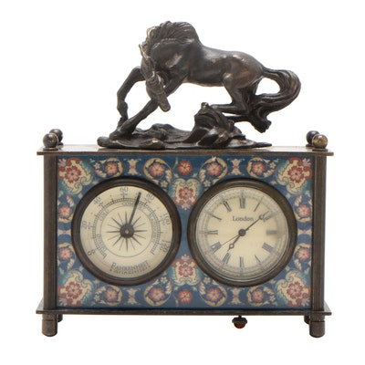 Vintage Omega Metal Statuette Desk Clock with Thermometer