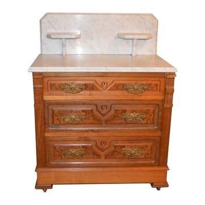 Victorian Eastlake Walnut and Marble Dressing Table, Late 19th Century