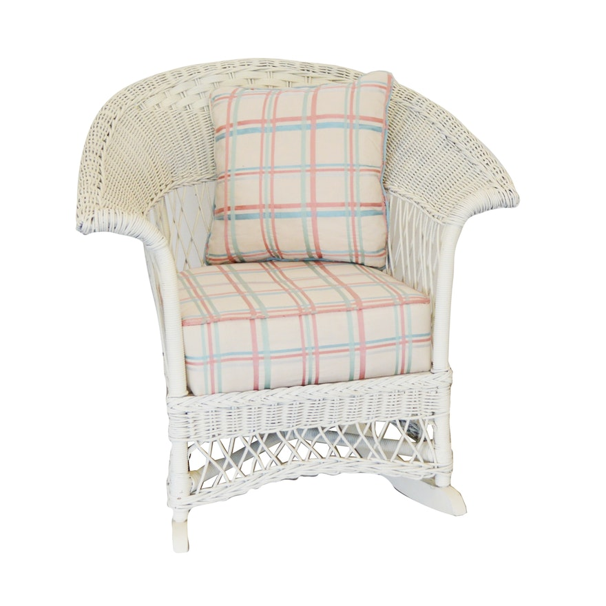 White Wicker Patio Rocking Chair, Vintage