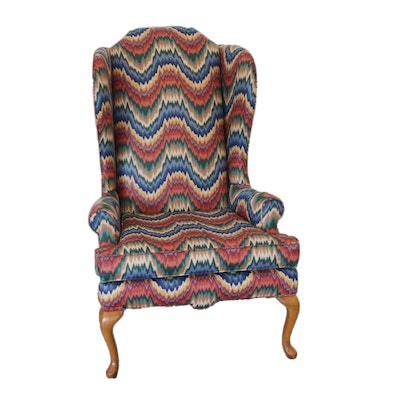 Queen Anne Style Wingback Chair, Late 20th Century